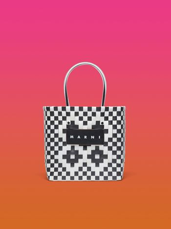 Marni MARNI MARKET squared shopping bag in woven polypropylene white and black Man