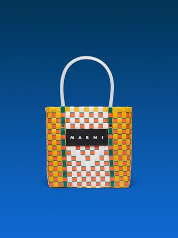 Marni MARNI MARKET yellow, green, orange and white squared shopping bag in woven polypropylene  Man