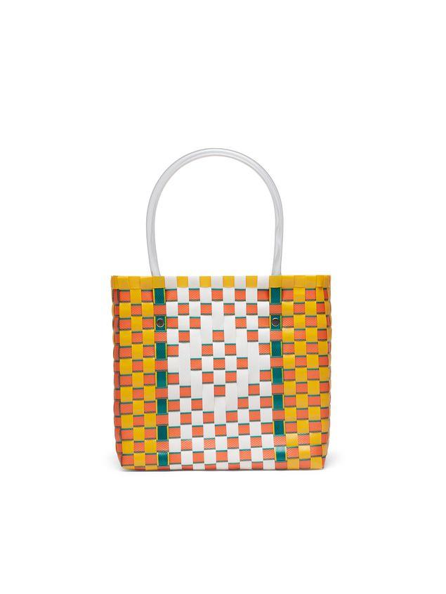 Marni MARNI MARKET yellow, green, orange and white squared shopping bag in woven polypropylene  Man