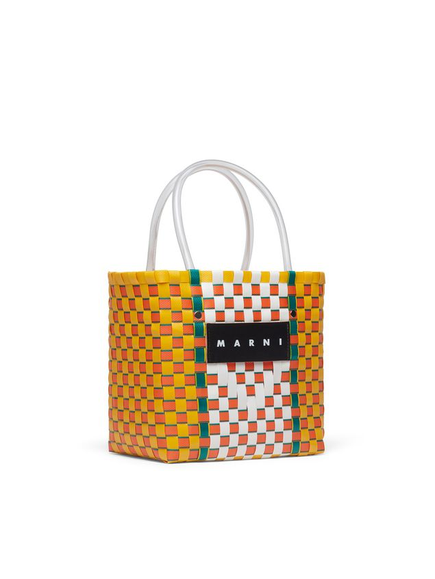 Marni MARNI MARKET yellow, green, orange and white squared shopping bag in woven polypropylene  Man - 2
