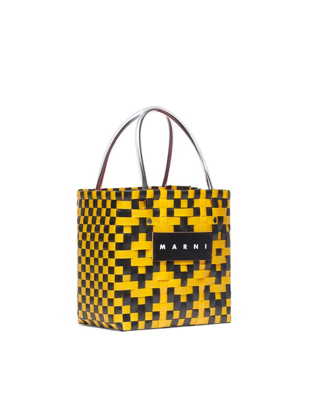 Marni MARNI MARKET yellow and black squared shopping bag in woven polypropylene  Man - 2
