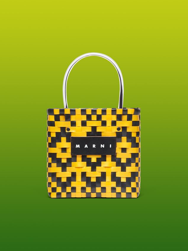 Marni MARNI MARKET yellow and black squared shopping bag in woven polypropylene  Man - 1
