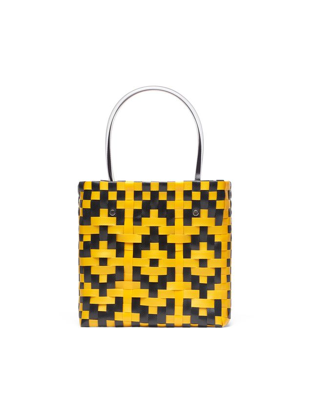 Marni MARNI MARKET yellow and black squared shopping bag in woven polypropylene  Man - 3