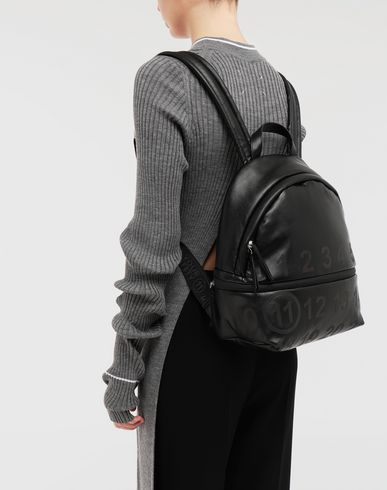 BAGS Logo-embellished leather backpack Black