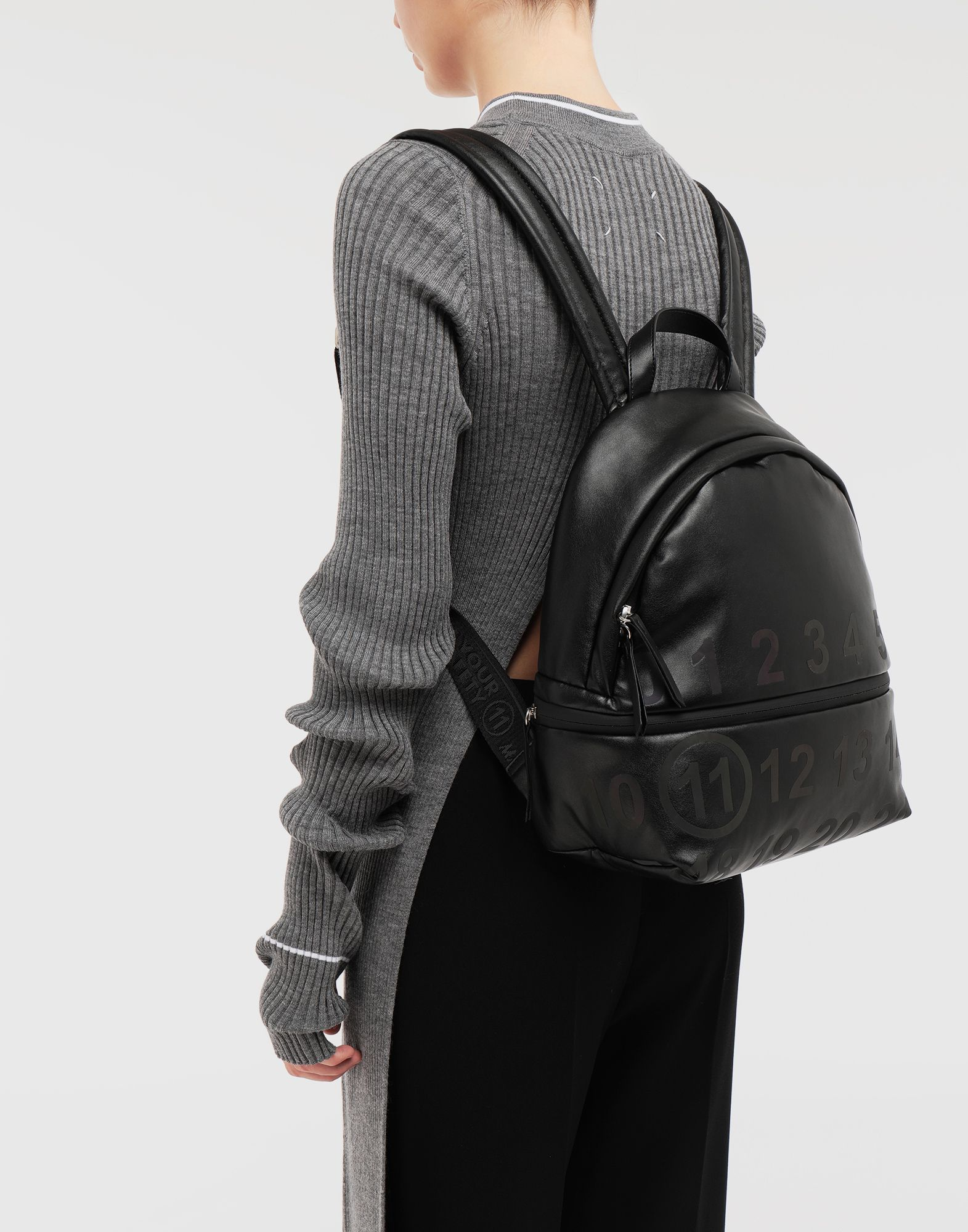MAISON MARGIELA Logo-embellished leather backpack Rucksack Woman b