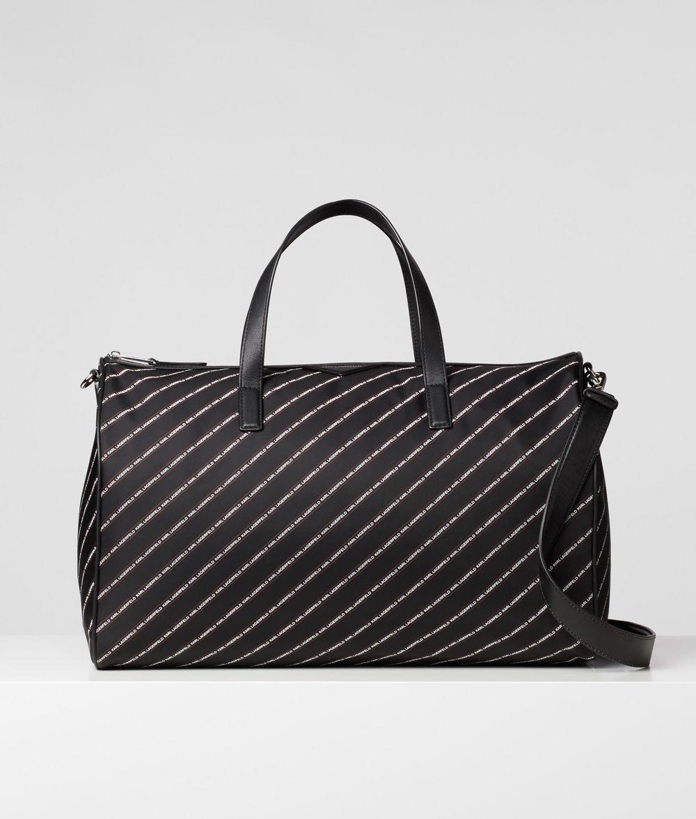 KARL LAGERFELD K/Stripe Logo Weekender Handbag E f