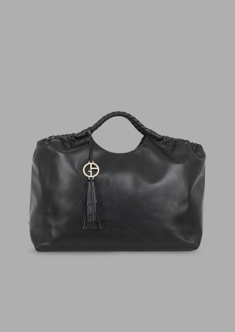 Leather tote bag with logo charm