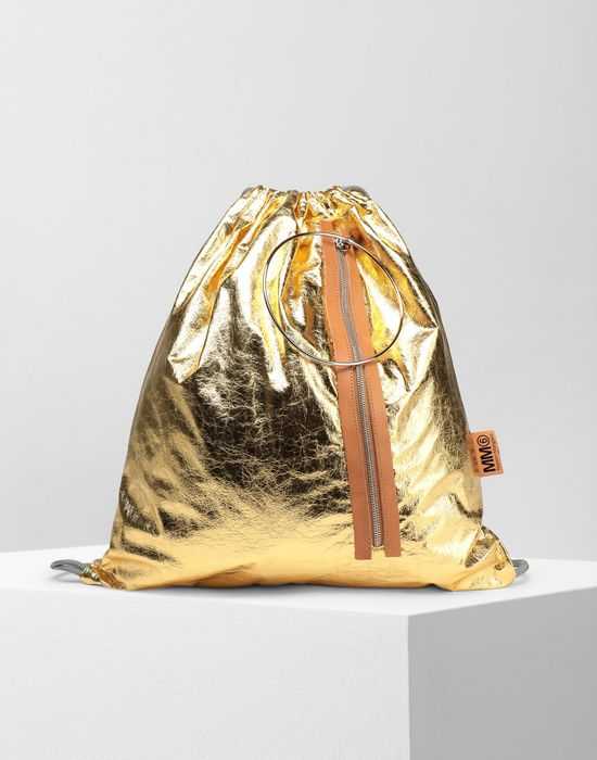 MM6 MAISON MARGIELA Crinkled leather drawstring backpack Rucksack [*** pickupInStoreShipping_info ***] f