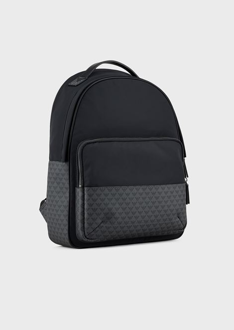 Nylon backpack with monogram inserts