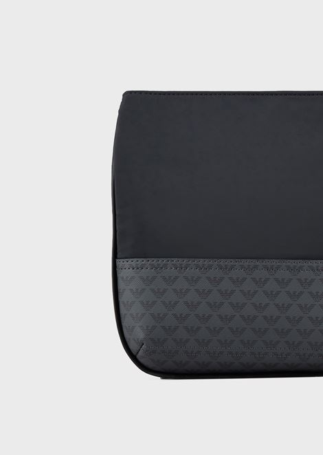 Small, flat shoulder bag with all-over monogram inserts