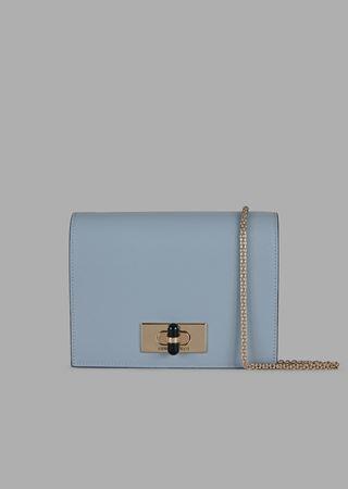 c491683cd2 Borgonuovo 11 mini cross-body bag in polished leather with plexiglassglass  twist lock