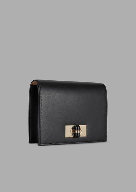 Borgonuovo 11 mini cross-body bag in polished leather with plexiglassglass twist lock