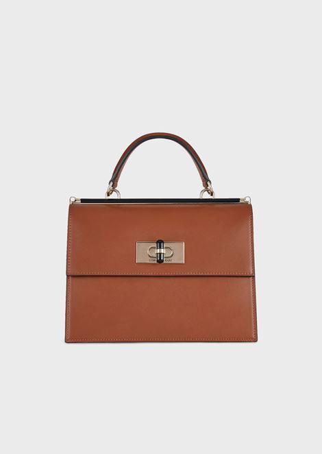 Handtasche Borgonuovo 11 aus Glattleder mit Drehverschluss und Details aus Plexiglas