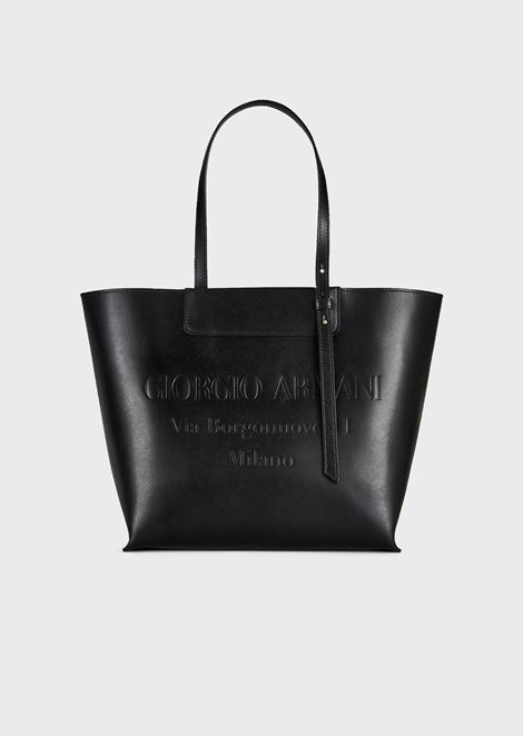Leather shopper bag with logo embossed in tone cd553f349