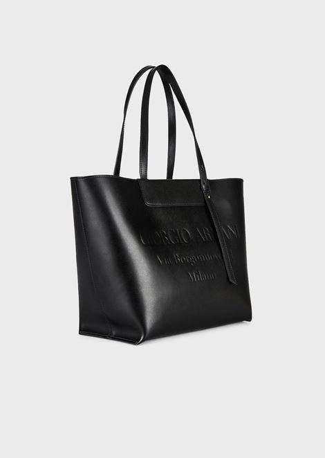 Leather shopper bag with logo embossed in tone