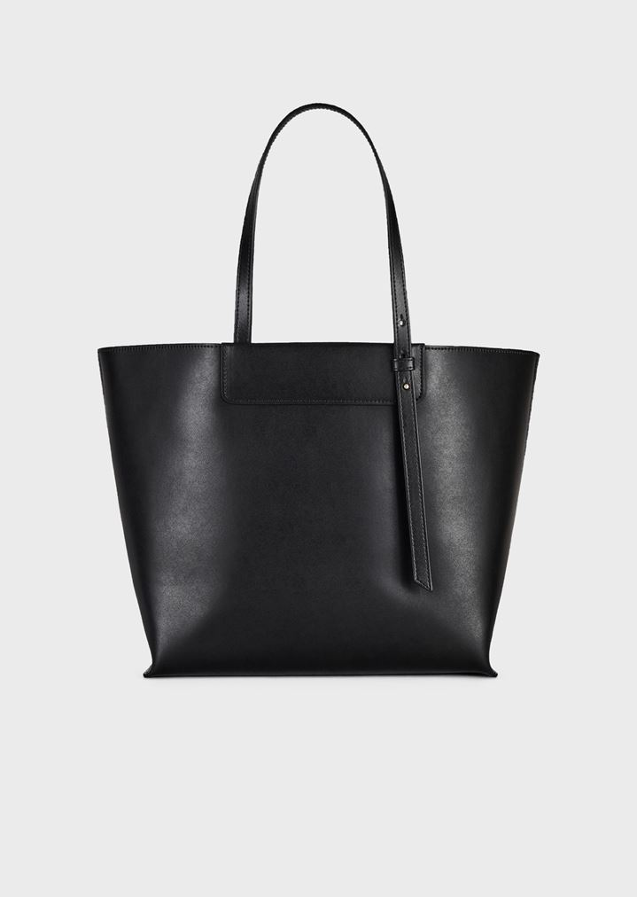 e71bc6bc1b Small leather shopper bag with tone-on-tone embossed logo