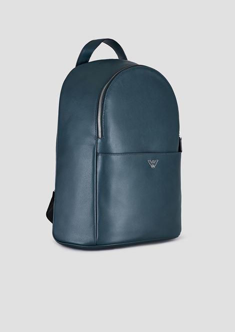 Rucksack aus strukturiertem bedrucktem Leder mit Logo-Schulterriemen