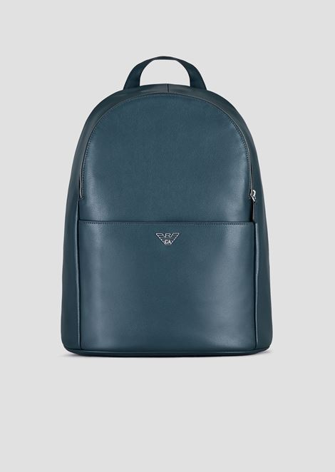 Backpack in printed boarded leather with logoed shoulder straps