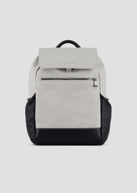 Full-grained leather backpack with side pockets