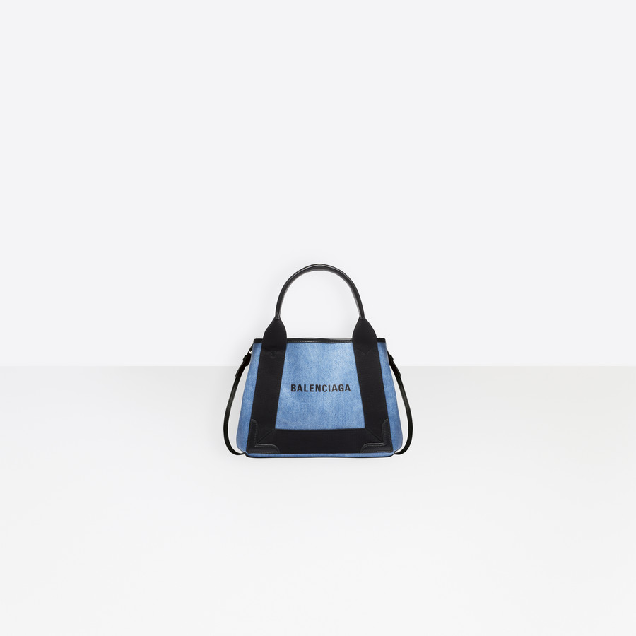 11c71d1865 BALENCIAGA Navy Cabas XS Coated Denim Navy Handbag Woman f
