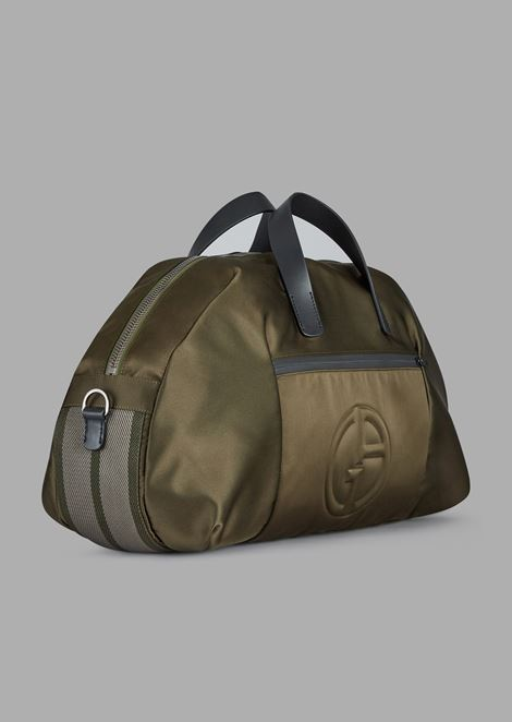 Holdall with embossed logo and detachable shoulder strap