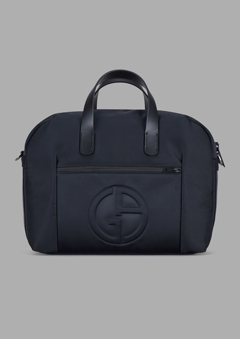 Briefcase bag with raised logo and two-toned band