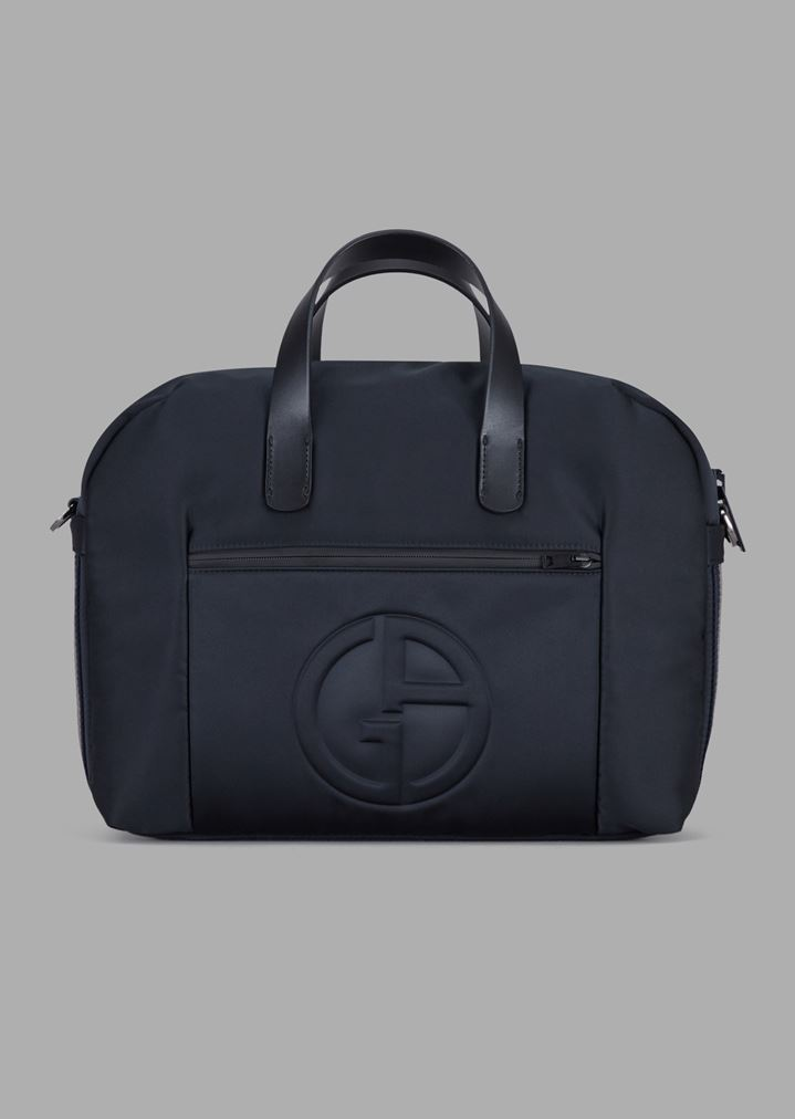 6b6b405a7d Briefcase bag with raised logo and two-toned band