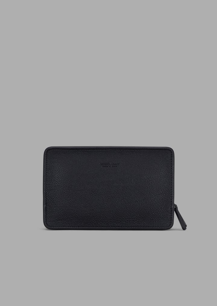 e90ac94a40 Toiletry bag in grainy leather with two compartments