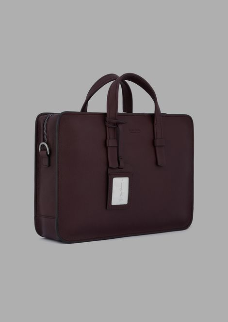 Attaché-case en cuir de veau grainé