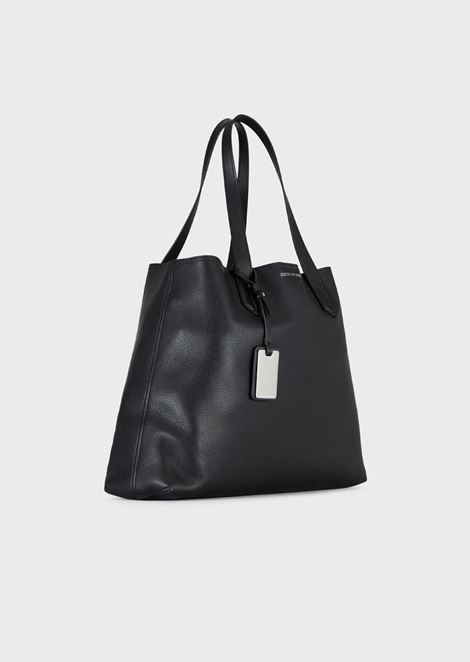 Shopping bag in deer-print leather with internal clutch