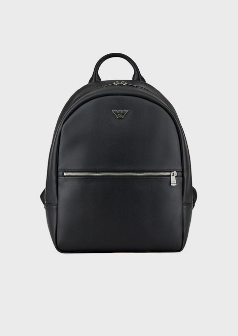 Backpack in faux leather with front pocket and logo