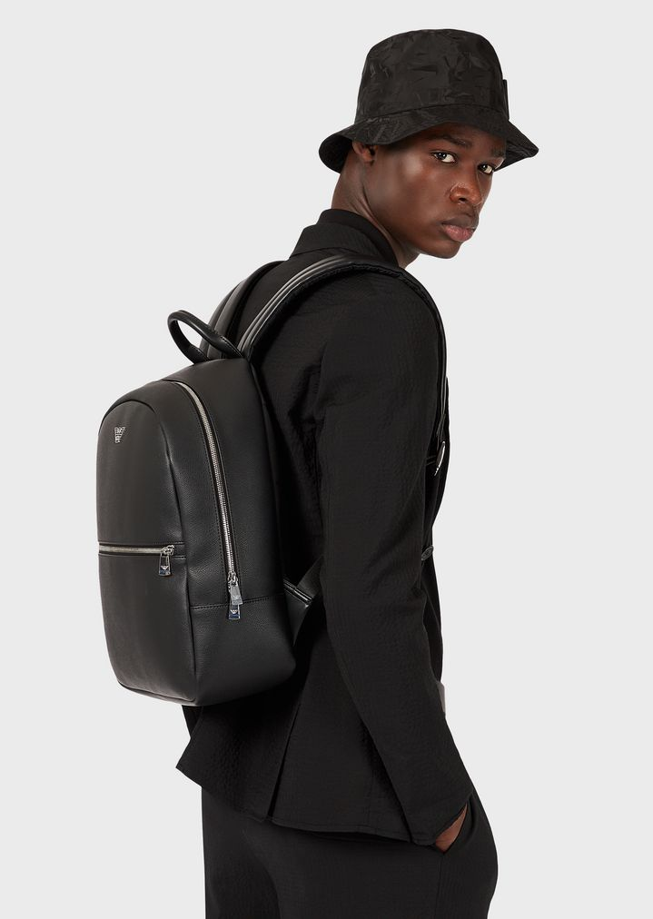 948ba9b8d5 Backpack in faux leather with front pocket and logo