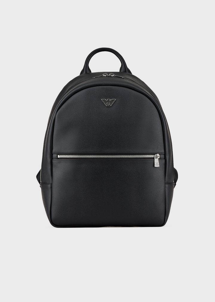 d58ef129b7c5 Backpack in faux leather with front pocket and logo