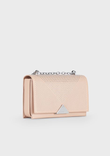 Cross-body bag in smooth leather with stud appliqués