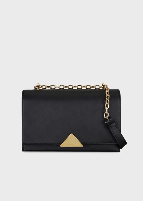 Cross-body bag in smooth leather with chain strap