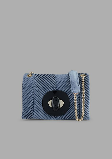 Mini cross-body bag in pleated velvet with exclusive closure
