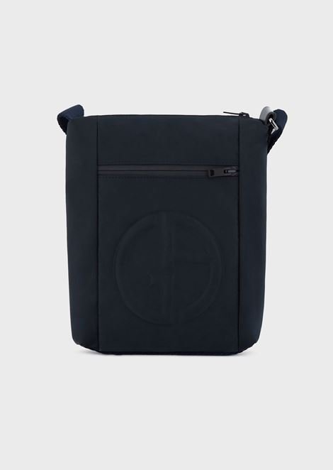 Cross-body bag with embossed logo and external pocket