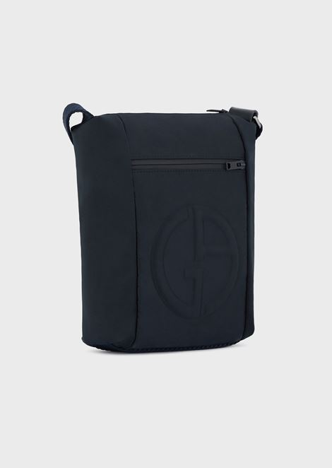 Shoulder bag with embossed logo and external pocket