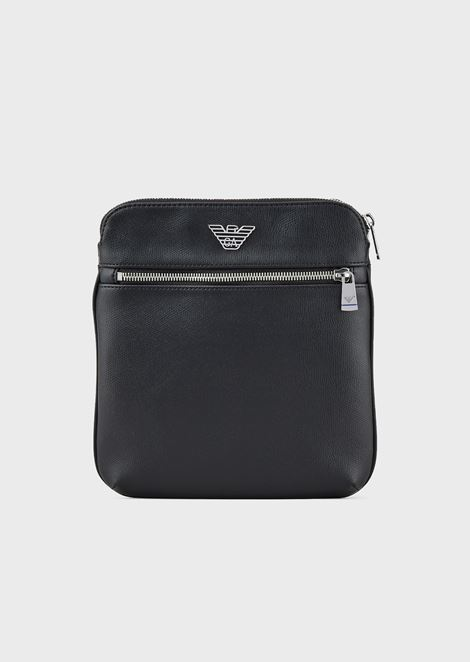 Small, flat shoulder bag with logo plate