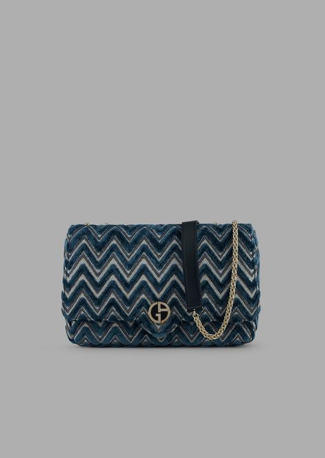Shoulder bag in chevron design velvet