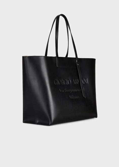 Large leather shopper bag with tone-on-tone embossed logo