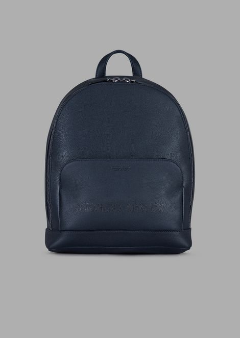 Grainy leather backpack with tone-on-tone logo
