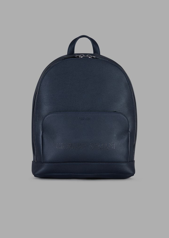 709a4784ce Grainy leather backpack with tone-on-tone logo