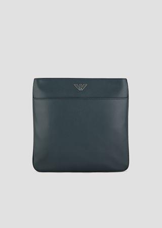 687e87fd700e8 Boarded leather flat messenger bag with metal logo   Man   Emporio Armani