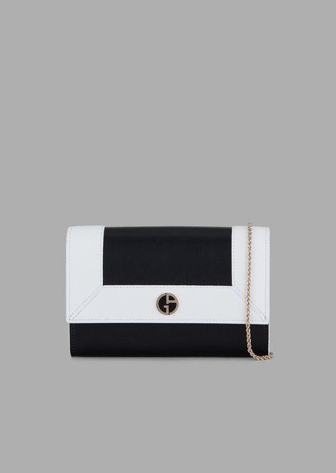 Mini shoulder bag in two-tone leather with enamelled logo