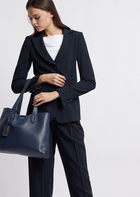 Shopper con pochette interna e charm Emporio Armani