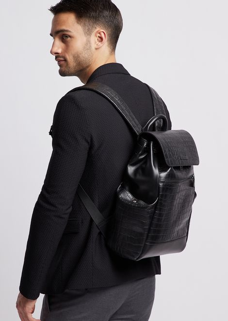Backpack in smooth crocodile-print leather