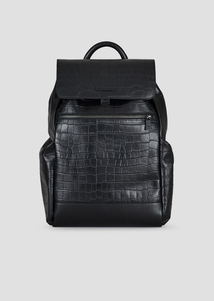 Backpack in smooth crocodile-print leather  ad32af7d85c62
