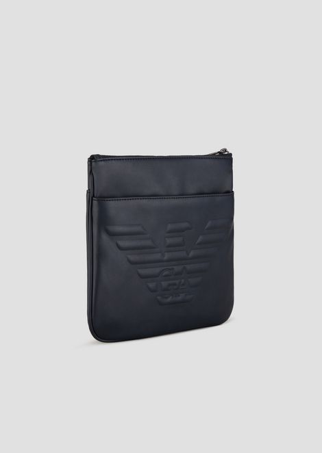 Flat bag with adjustable, logoed strap