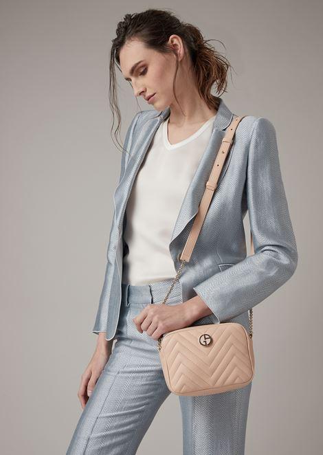 Nappa leather shoulder bag with enamelled logo